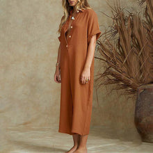 Load image into Gallery viewer, Vintage Wide Leg Short sleeves Jumpsuits