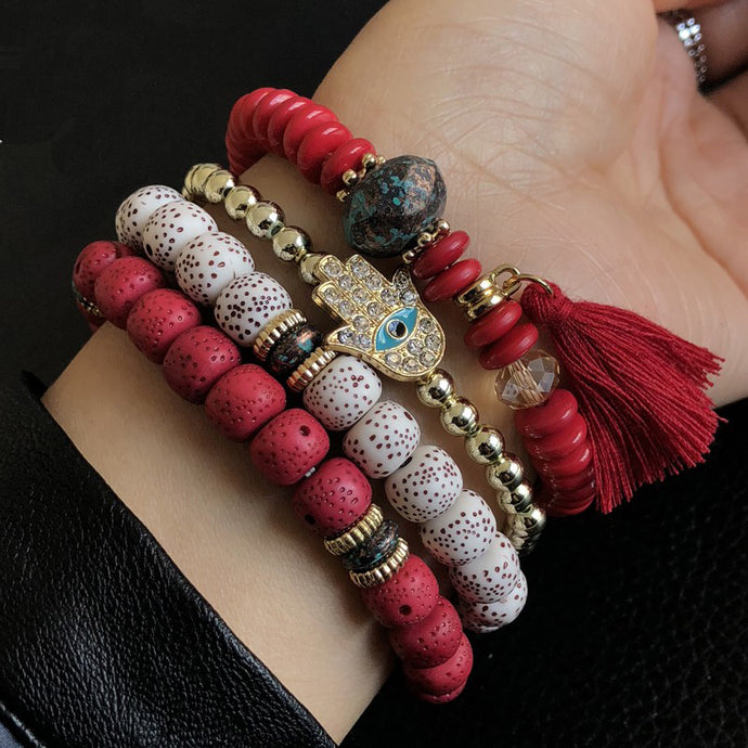 Boho Multilayer Beads Charm Vintage Bracelets - bohemian earth
