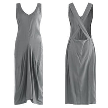 Load image into Gallery viewer, Vintage Pleated V Neck Sleeveless Dress