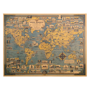 Vintage World Map Wall Poster - bohemian earth