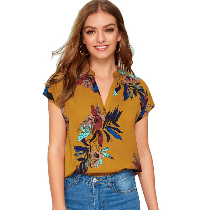 V-neck Floral Print Notched Tops and Blouses