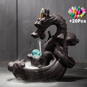 Dragon Ceramic Backflow creative Incense Burner +20 pcs cones