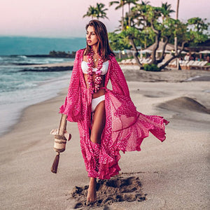 Bohemian earth Chiffon Beach Cover up Dress