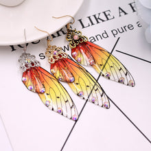 Load image into Gallery viewer, Butterfly Fairy wings handmade drop earrings