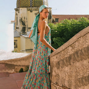 Bohemian earth green floral summer casual beach dress - bohemian earth