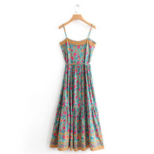 Load image into Gallery viewer, Bohemian earth green floral summer casual beach dress - bohemian earth