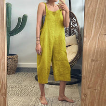 Load image into Gallery viewer, Vintage Linen Overalls Summer Wide Leg Jumpsuits