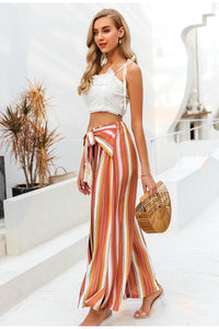 Bohemian Earth Split striped Casual wide leg pants