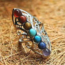 Load image into Gallery viewer, Vintage Healing 7 Chakra Stones Yoga Ring