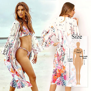 Bohemian Printed Half Sleeve Long Kimono Cardigan - bohemian earth