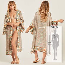 Load image into Gallery viewer, Bohemian Printed Half Sleeve Long Kimono Cardigan - bohemian earth