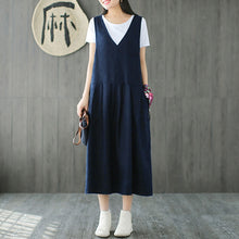 Load image into Gallery viewer, Cotton Linen Sleeveless Casual Midi Dress
