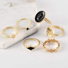 Load image into Gallery viewer, Bohemian Fashion Black Eyes Heart 6pcs Ring sets