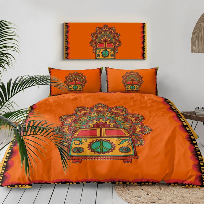 Hippie Vintage Car Duvet cover Bedding Set