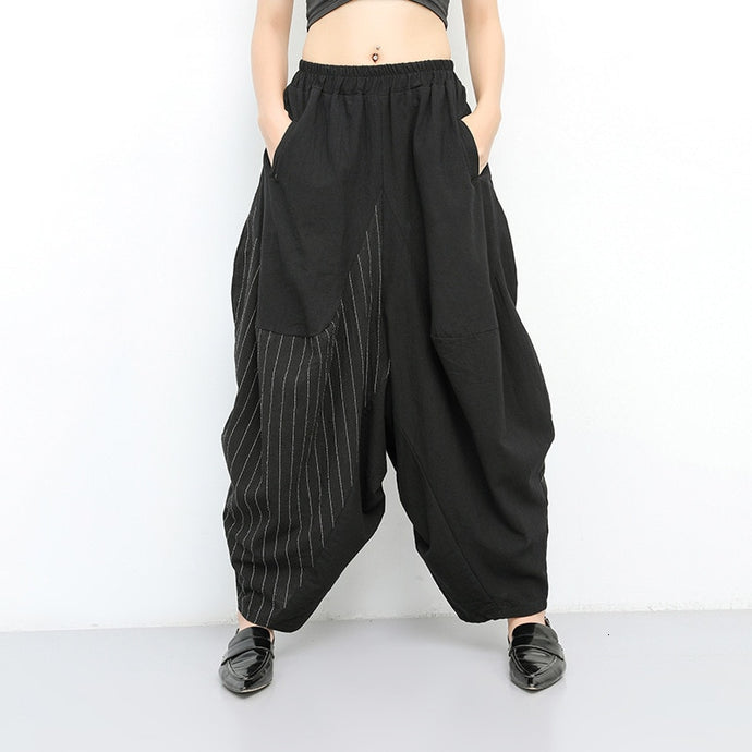 Elastic Waist Black Striped Wide Leg Loose Pants