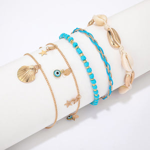 Bohemian Shell Beaded 5 pcs set Anklets