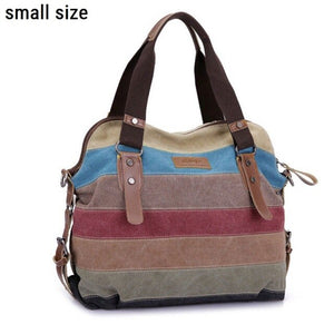 Bohemian earth Canvas Striped Handbags