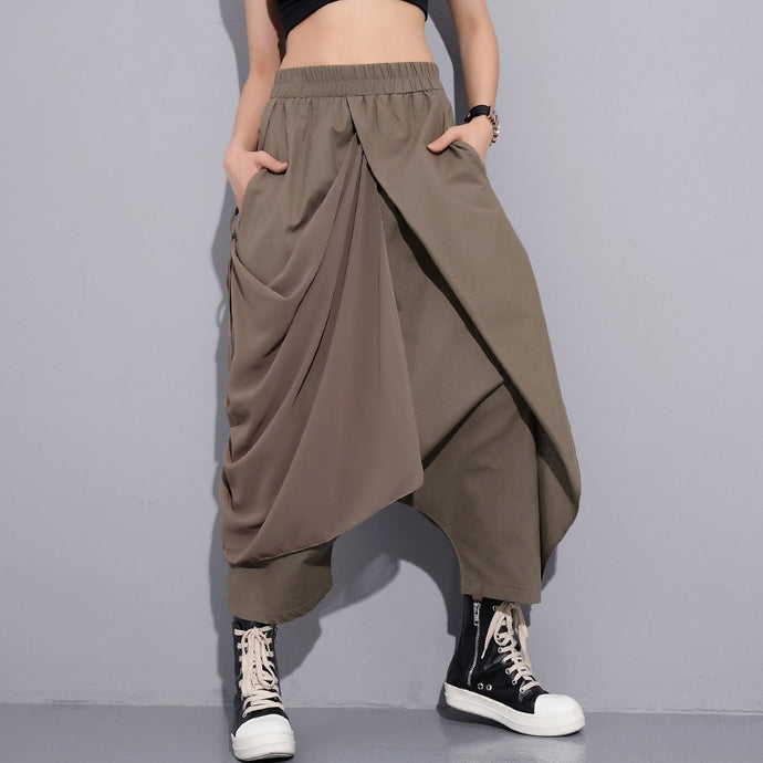 Bohemian earth high waist bandage loose cross pants