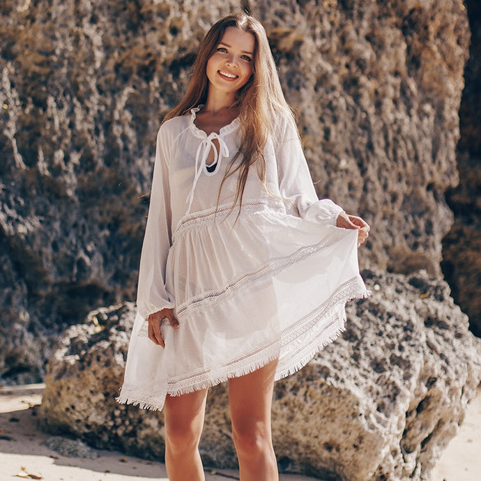 Bohemian long sleeve tunic chiffon mini  Beach dress