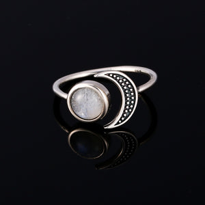 Miranda natural moonstone 925 silver ring