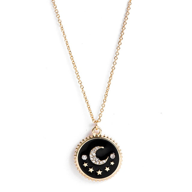 Bohemian Crystal Moon Star Pendant Necklace