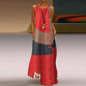 Bohemian Earth Sleeveless Patchwork Maxi Dress