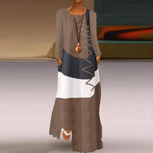 Load image into Gallery viewer, Bohemian Earth Sleeveless Patchwork Maxi Dress