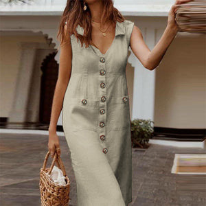 V neck Sleeveless Cotton Linen Sundress