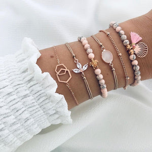 Boho Bead Chain Multilayer 6 pcs set Bracelet