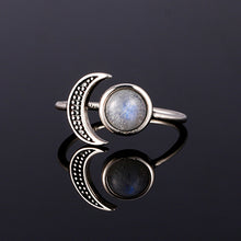 Load image into Gallery viewer, Miranda natural moonstone 925 silver ring