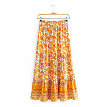 Load image into Gallery viewer, Mila Hippie Floral Printed Boho Midi Skirt