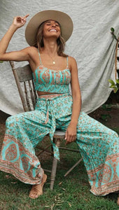 Boho Vintage Floral Top and Bottom 2 Piece Set
