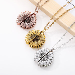 You are my sunshine sunflower pendant necklace