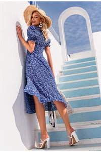 Boho Fashion Split Dot Print Dress