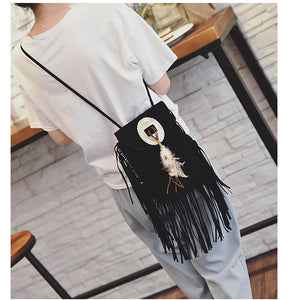 Bohemian Fringe Messenger Tassel Bag - bohemian earth