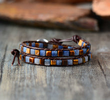 Load image into Gallery viewer, Vintage Mix Natural Stones 2 Strands Wrap Bracelets - bohemian earth