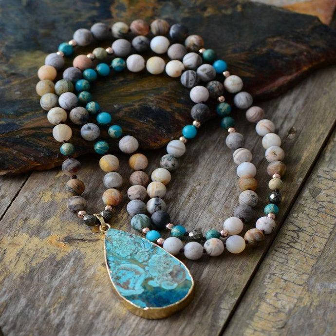 Boho Mix Natural Stones Pendant Necklace - bohemian earth