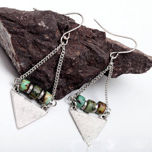 Boho Style Antique Natural Stone Bead Triangle Earring - bohemian earth