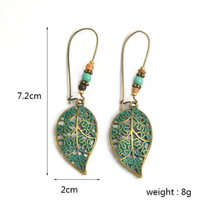 Hollow Leaf Beads Ethnic Drop Earrings - bohemian earth