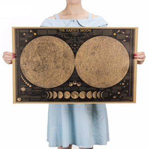 Earth Moon Vintage World Map Poster - bohemian earth