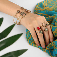 Sun Flower Open Cuff Bangles & Adjustable Rings Set - bohemian earth