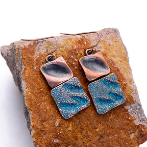 Bohemian Zinc Alloy Square Vintage Drop Earrings - bohemian earth