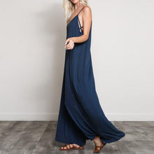 Load image into Gallery viewer, V Neck Strappy Loose Wide Leg Casual Solid Rompers - bohemian earth