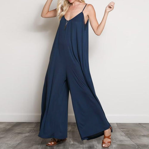 V Neck Strappy Loose Wide Leg Casual Solid Rompers - bohemian earth