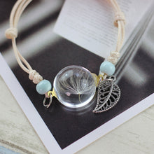 Load image into Gallery viewer, Handmade Dandelion Woven Dried Flowers Glass Beads Bracelet - bohemian earth