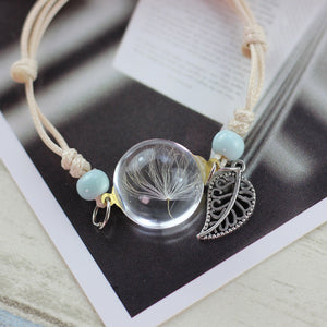 Handmade Dandelion Woven Dried Flowers Glass Beads Bracelet - bohemian earth