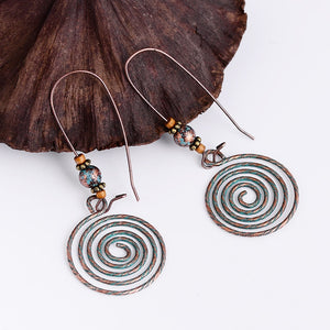 Vintage Ethnic Swirl Pendant Long Dangle Earrings - bohemian earth