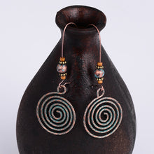 Load image into Gallery viewer, Vintage Ethnic Swirl Pendant Long Dangle Earrings - bohemian earth