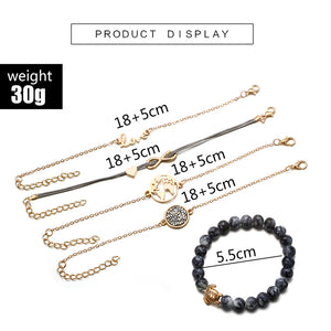 Bohemian Gold Color Earth Letter Infinite 5 Pcs Bracelet Set - bohemian earth