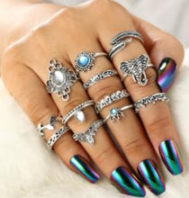 Load image into Gallery viewer, Vintage Silver Color Elephant Leaf Flower 11 Pcs Rings Set - bohemian earth